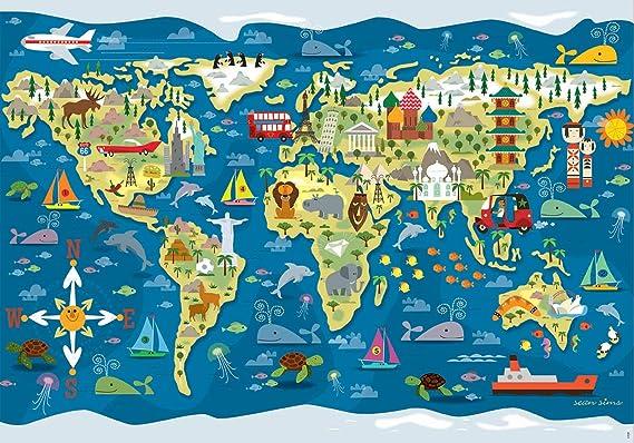 Educa- Mapamundi-Sean Sims Aldeas SOS Puzzle Infantil de 200 Piezas, a Partir de 6 años (17727): Amazon.es: Juguetes y juegos
