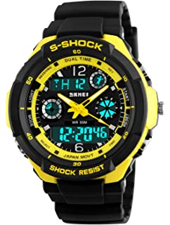 Gosasa Multifunction Sport Watch Mens Digital Shock Resistant Quartz Alarm Waterproof Watches Yellow