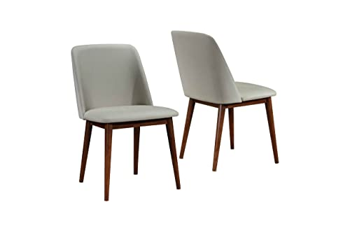 Poly and Bark Vortex Modern Mid-Century Side Chair with Wooden Walnut Legs for Kitchen, Living Room and Dining Room, Grey Set of 2