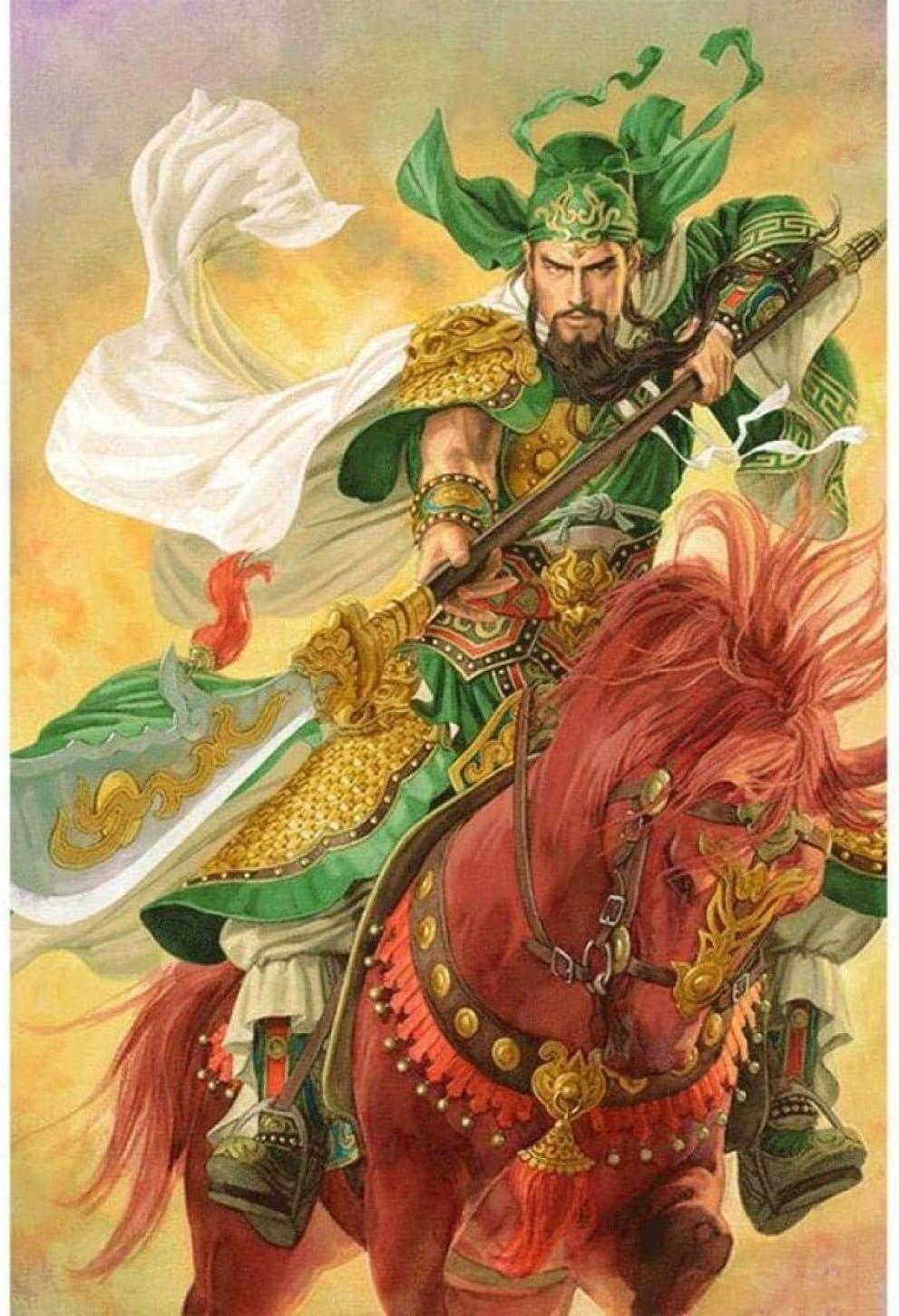 YYTTLL Diy 5D Kits de pintura de diamantes para adultos Niños Guan Yu Montar un caballo Taladro completo Mosaico Bordado redondo Kits de punto de cruz Artesanía Gift-40X50Cm