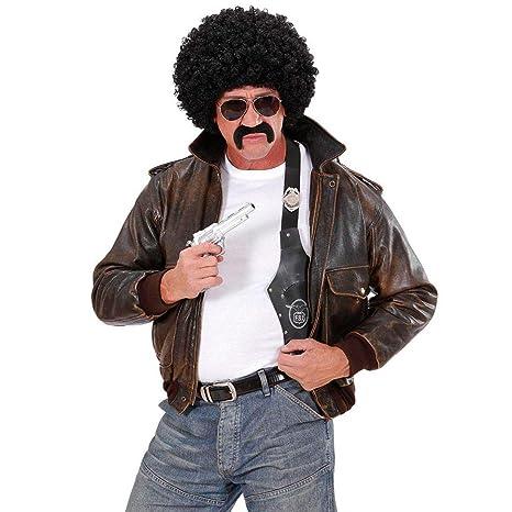 Set costume agente: parrucca con capelli ricci occhiali da sole e baffi dUbVqHROP