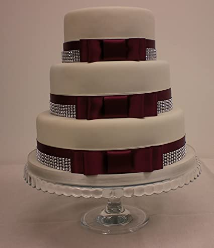 Wedding Cake Bow Set Satin Burgundy Ribbon Silver Diamante Trim