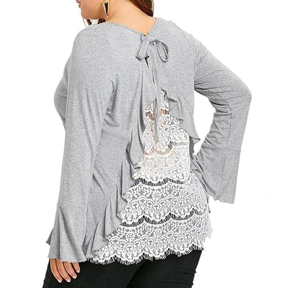 FAMILIZO Camisetas Encaje Mujer Manga Larga Camisetas Mujer Tallas Grandes Camisetas Mujer Verano Blusa Mujer Tops