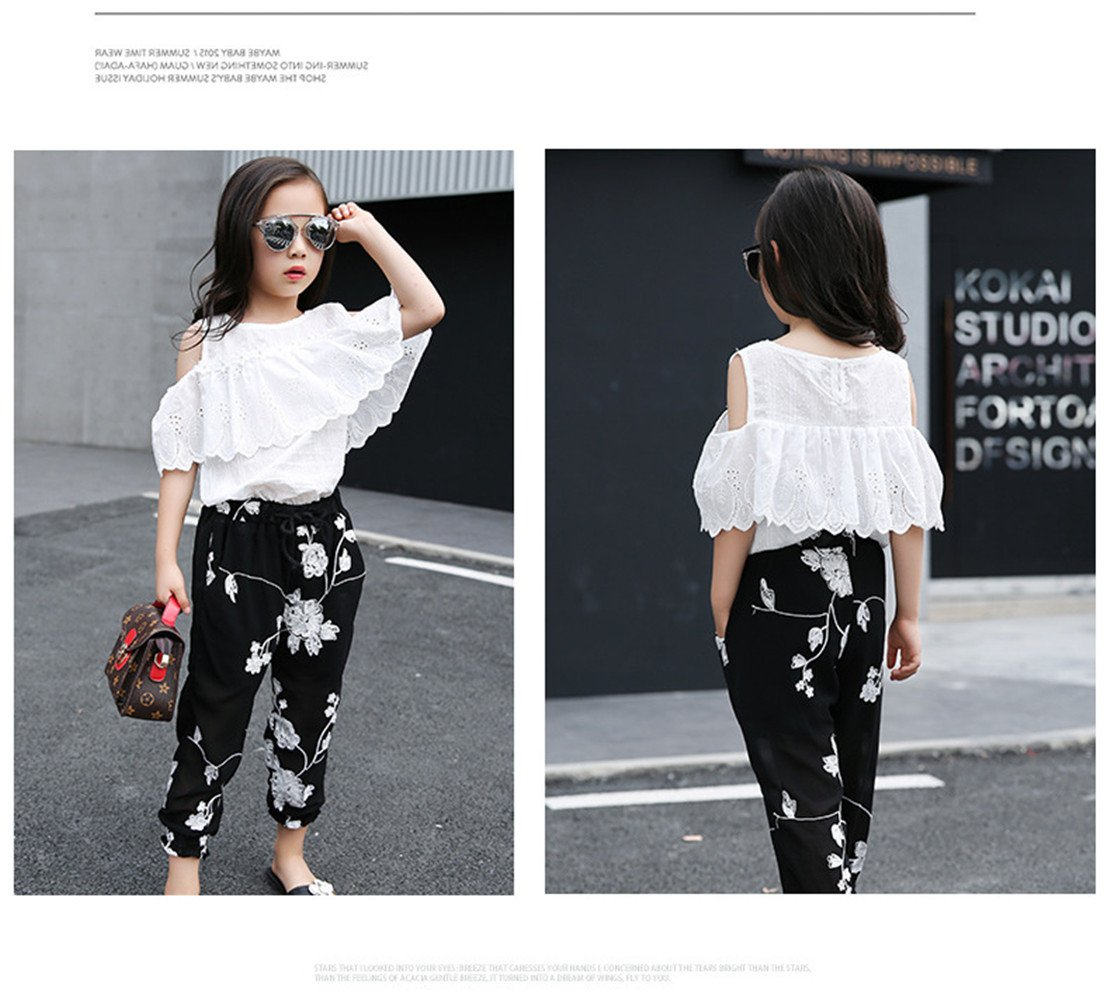 FTSUCQ Girls Pullover Off-Shoulder Lace Shirt Top + Floral Cropped Trousers,140 by FTSUCQ (Image #3)