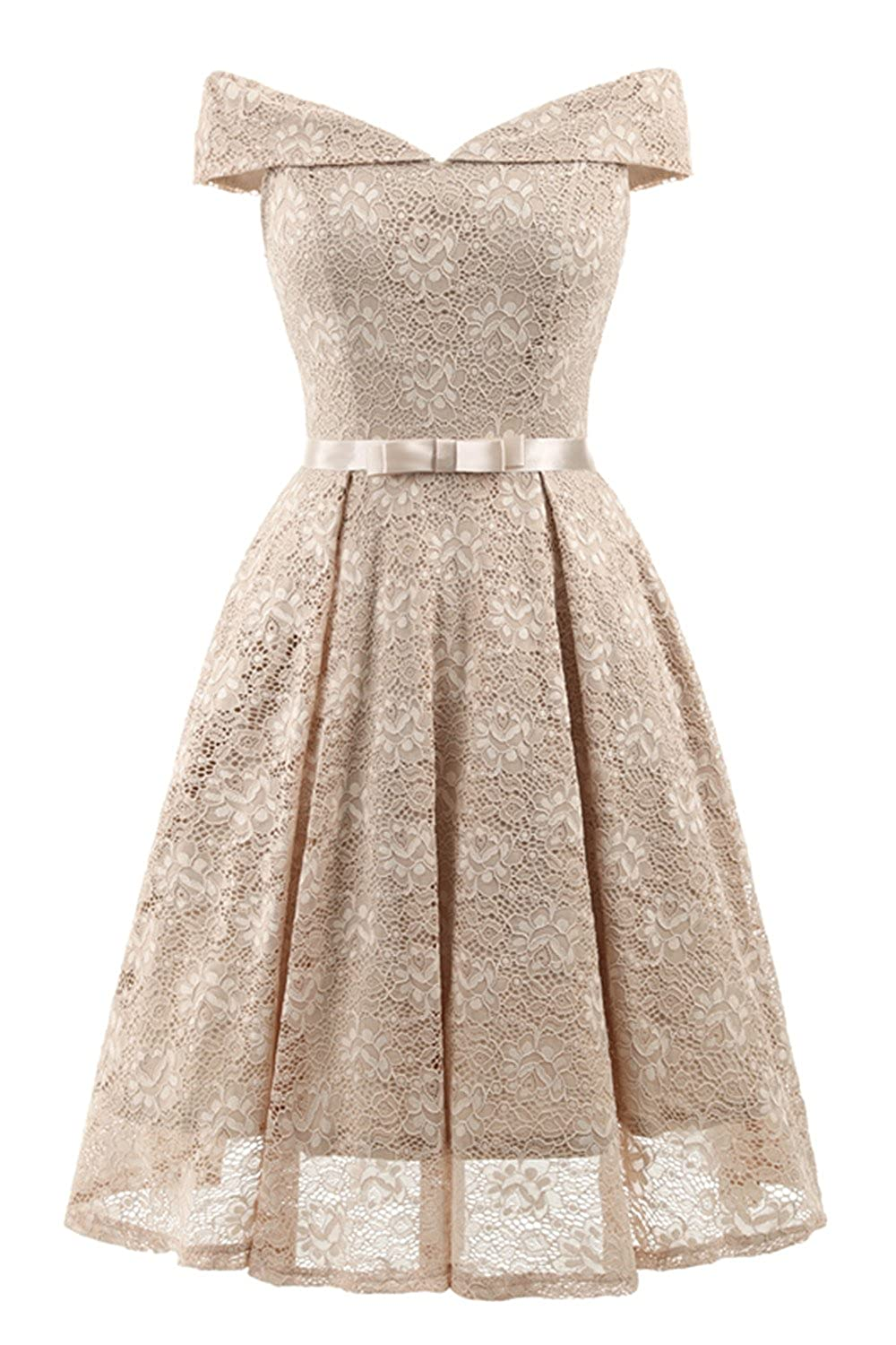 bb74ee719b48 Bright Deer Women Bardot Lace Vintage Midi Skater Dress Party Cocktail  Special Occasion  Amazon.co.uk  Clothing