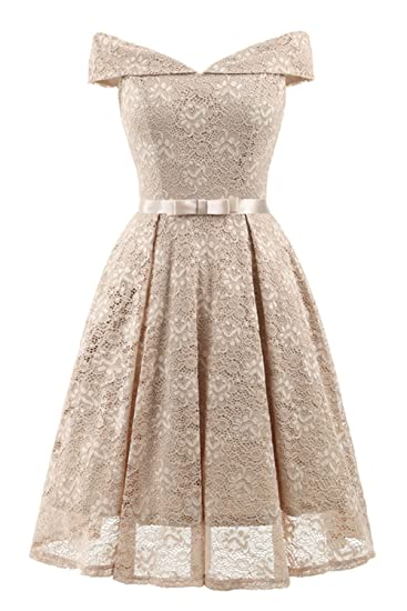 Bright Deer Women Bardot Lace Vintage Midi Skater Dress Party Cocktail  Special Occasion  Amazon.co.uk  Clothing 7f4c48ad9