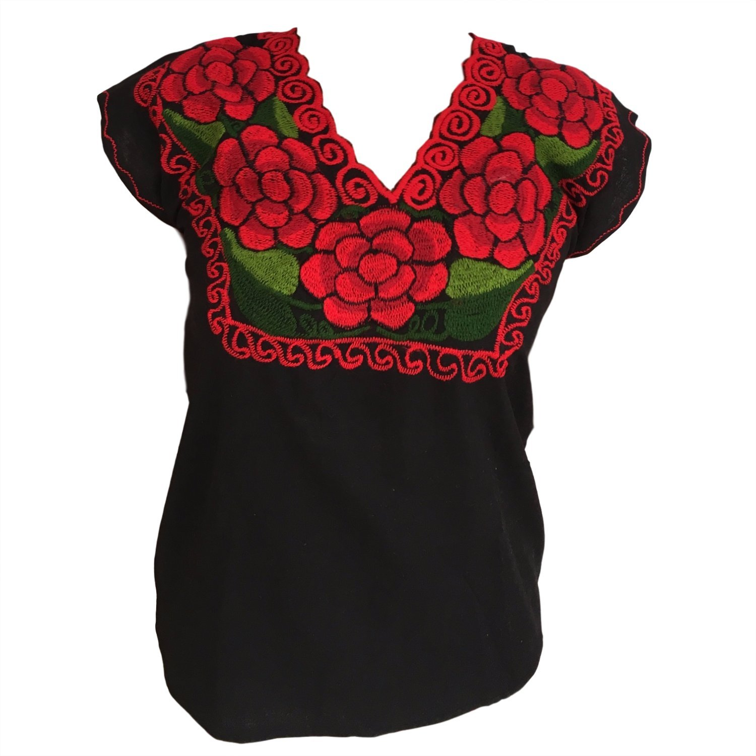 Casa Fiesta Designs Floral Mexican Blouse - Authentic Embroidered Chiapas Blouse - 100% Handmade - Black with Red Flowers (Large)