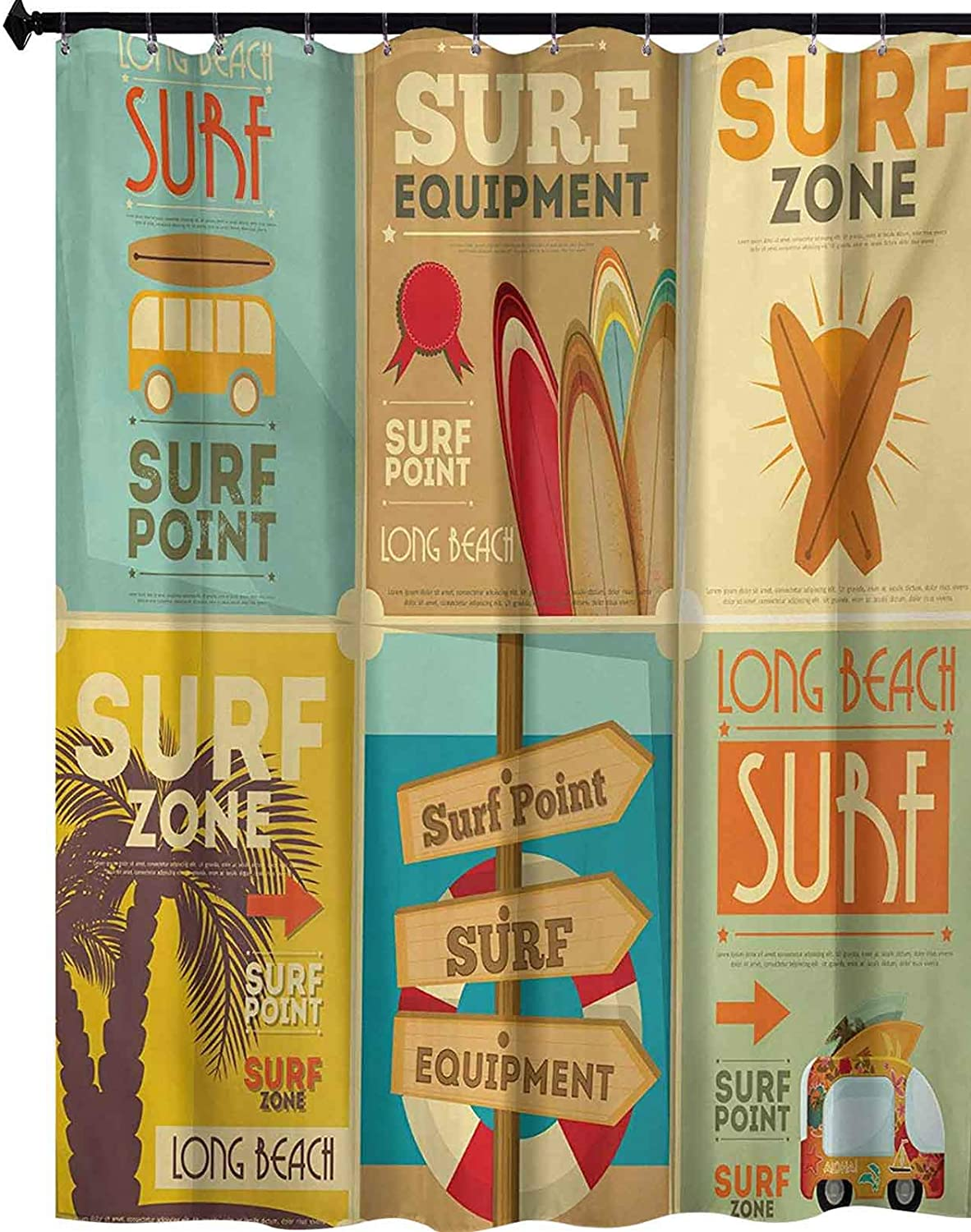 """YUAZHOQI Shower Curtains Set with Hooks, Retro Posters Collection Summer Vacation Theme Hobby Water Sports California Beach, Bathroom Curtain Polyester Home Decor 72"""" x 78"""", Multicolor"""