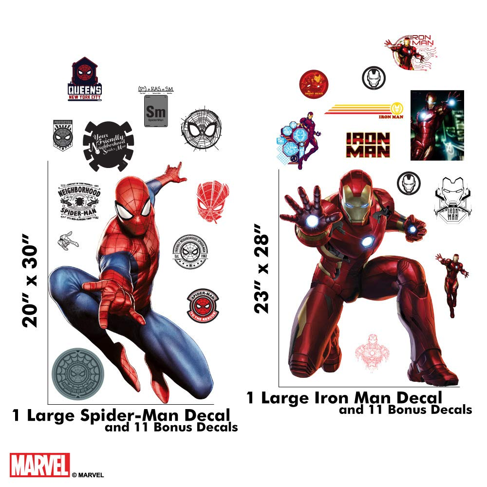 3508aacc390 Amazon.com  Marvel Spider-Man   Iron Man Bundle Augmented Reality Stickers  for Kids Rooms - Kids Wall Decals for Bedroom are Easy to Put Up On Wall    Peel ...