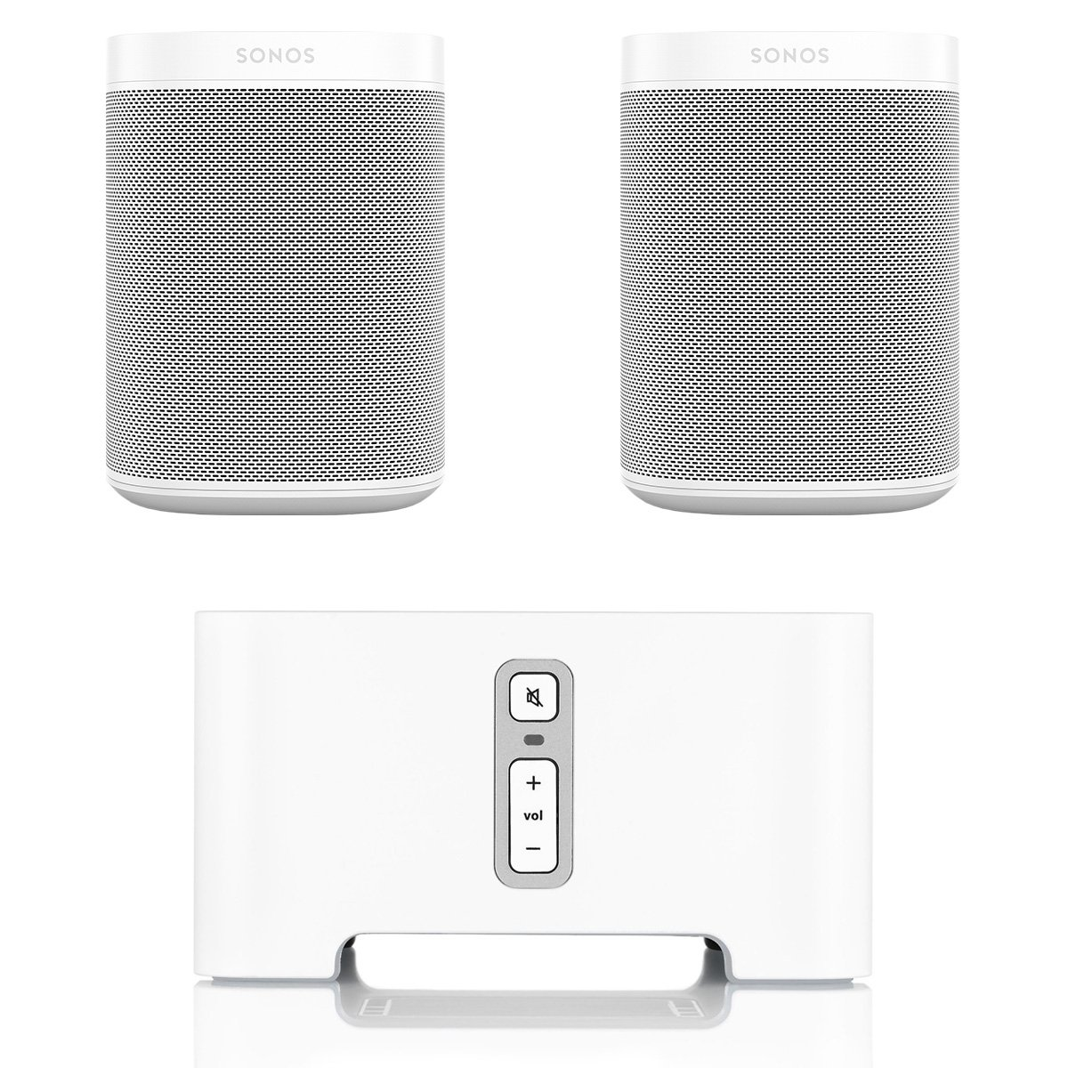 Sonos ONE Voice Controlled Smart Speakers (White) with CONNECT Wireless Hi-Fi Player