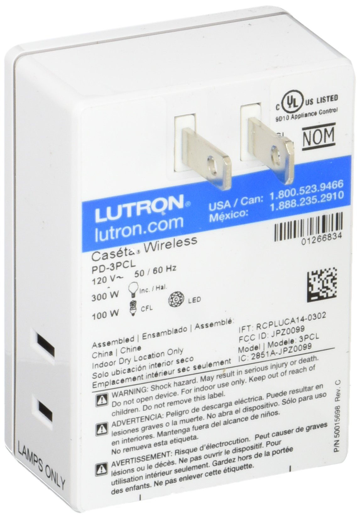 Lutron Caseta Wireless Smart Lighting Lamp Dimmer, PD-3PCL-WH, Works with Alexa, Apple HomeKit, and the Google Assistant by Lutron (Image #2)