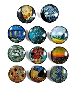 "Vincent Van Gogh Impressionist Art 1.2"" Cabochon Glass Dome Refrigerator Magnet Set (Set C, 11pk)"