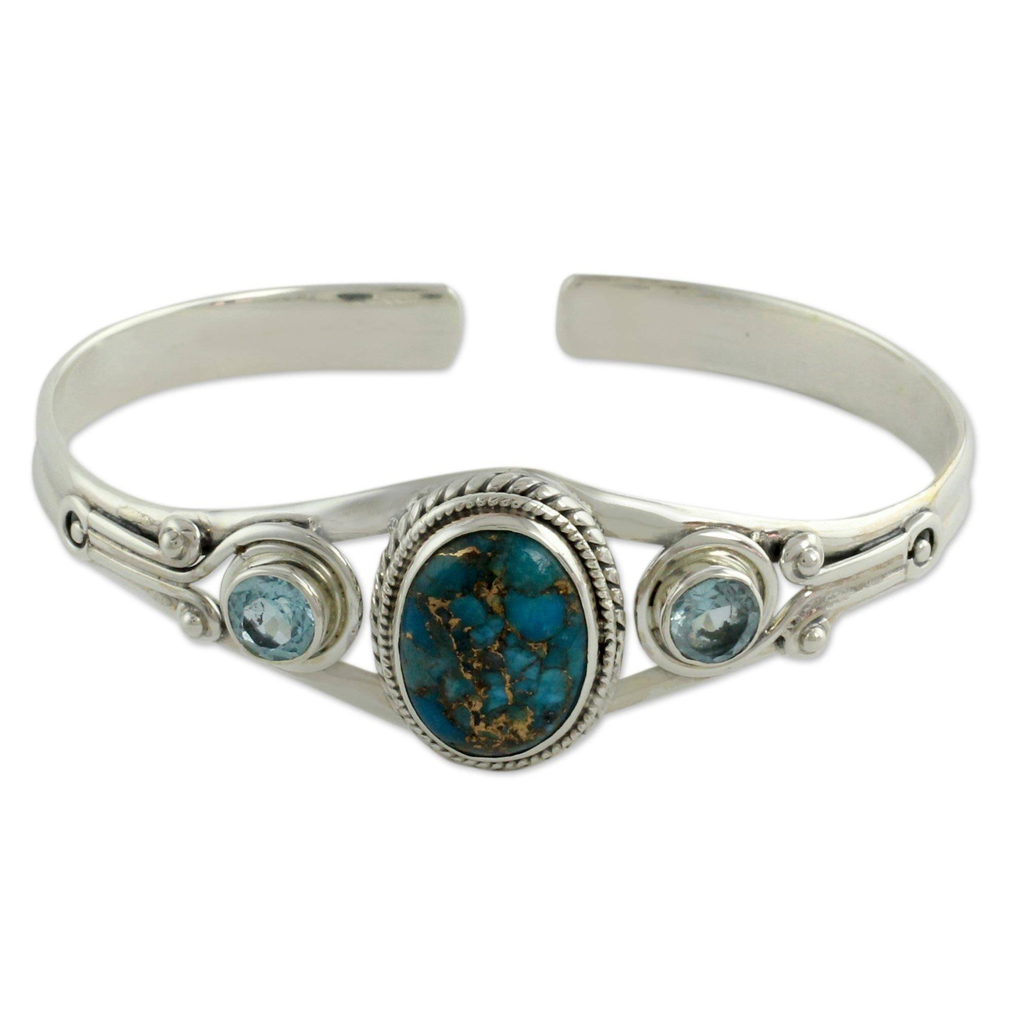 NOVICA 925 Sterling Silver Cuff Bracelet with Reconstituted Turquoise and Blue Topaz 'Azure Heavens'