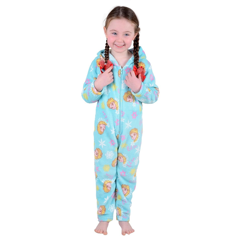 Disney Childrens Girls Ice Blue Frozen Elsa Fleece All in One Pyjama PJs Onesie