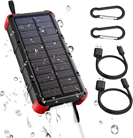 [Quick Charge] OUTXE 20000mAh IP67 Waterproof Solar Phone Charger (Dual Input 4A) Rugged Power Bank with Flashlight