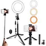 Travor 6-inch Dimmable LED Selfie Ring Light with Adjustable Stand with Remote Control, 3 Modes and 11-Level Brightness…