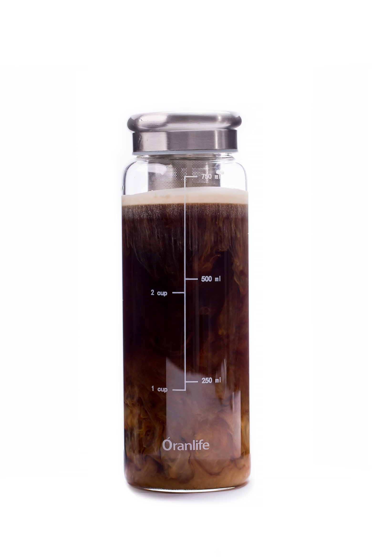 Cold Brew Coffee Maker, Portable Iced Coffee Maker with Airtight Lid and Easy To Clean Reusable Stainless Steel Mesh Filter for Iced Tea Maker 3cup 26oz by Oranlife