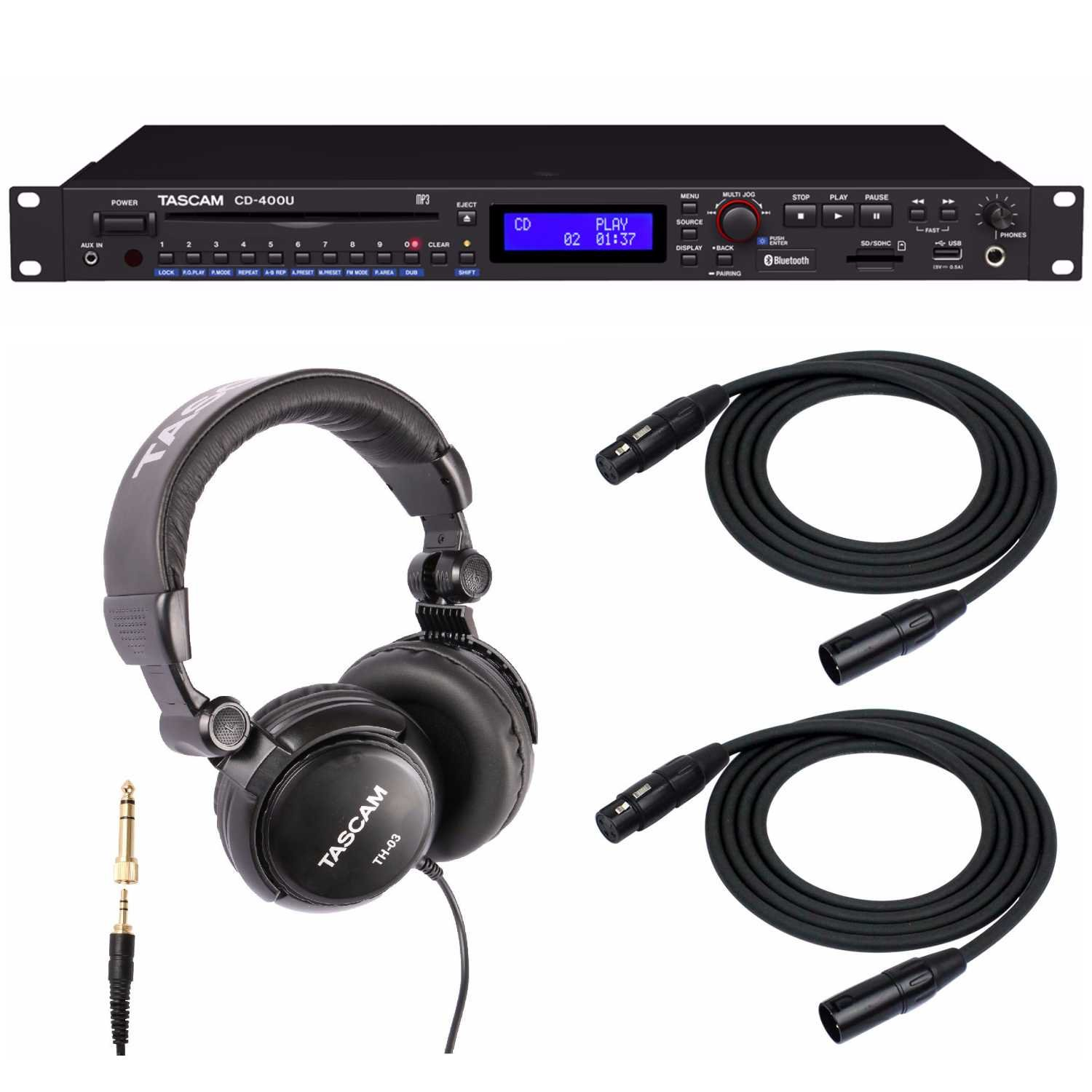 Tascam CD-400U CD/Media Player with Headphones and 2 XLR Cables