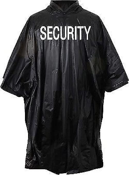 846b87e16 Image Unavailable. Image not available for. Color: Black Security Rain  Poncho with Hood Waterproof ...