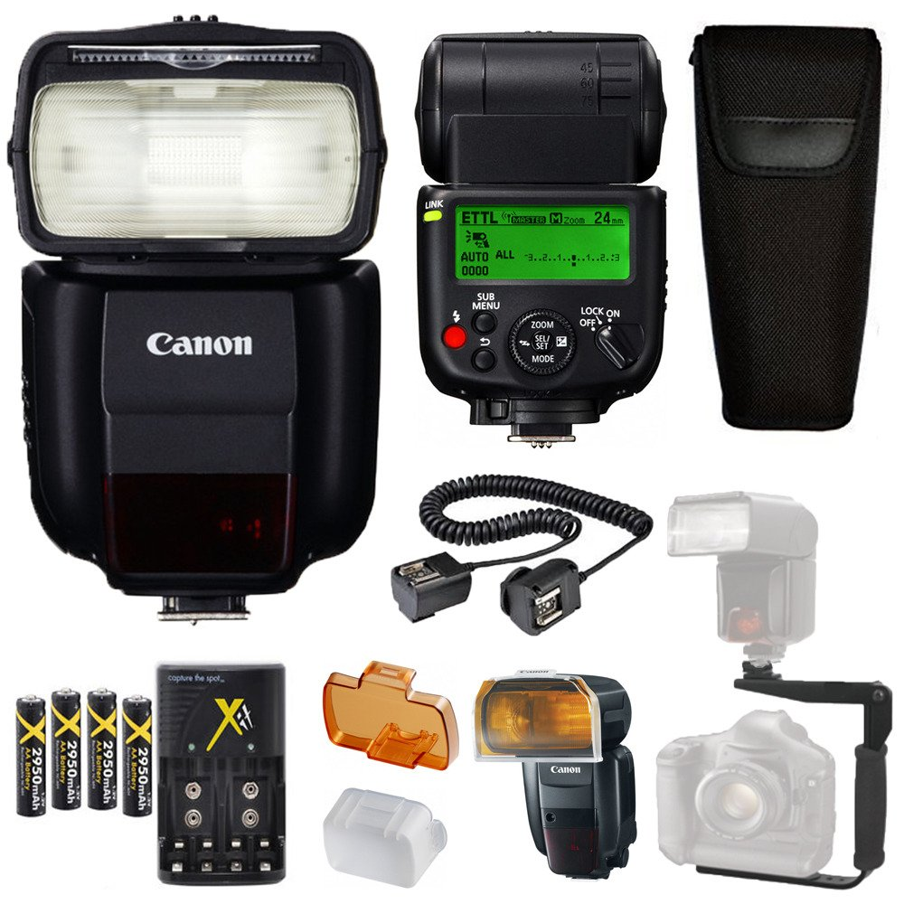 Canon Speedlite 430EX III-RT Flash + Canon Speedlite Case + 4 High Capacity AA Rechargeable Batteries and charger + Flash L Bracket + TTL Cord