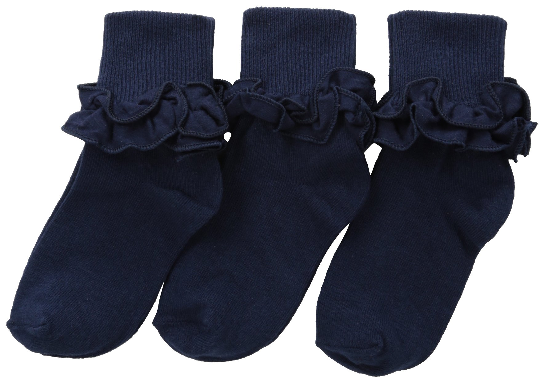 Jefferies Socks Little Girls' Misty Ruffle Turn Cuff (Pack of 3), Navy, Small