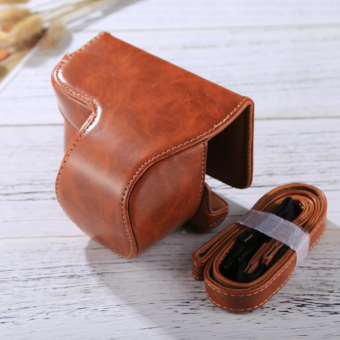 Camera Cases Black Color : Brown Camera Leather Full Body Camera PU Leather Case Bag with Strap for Sony A6300