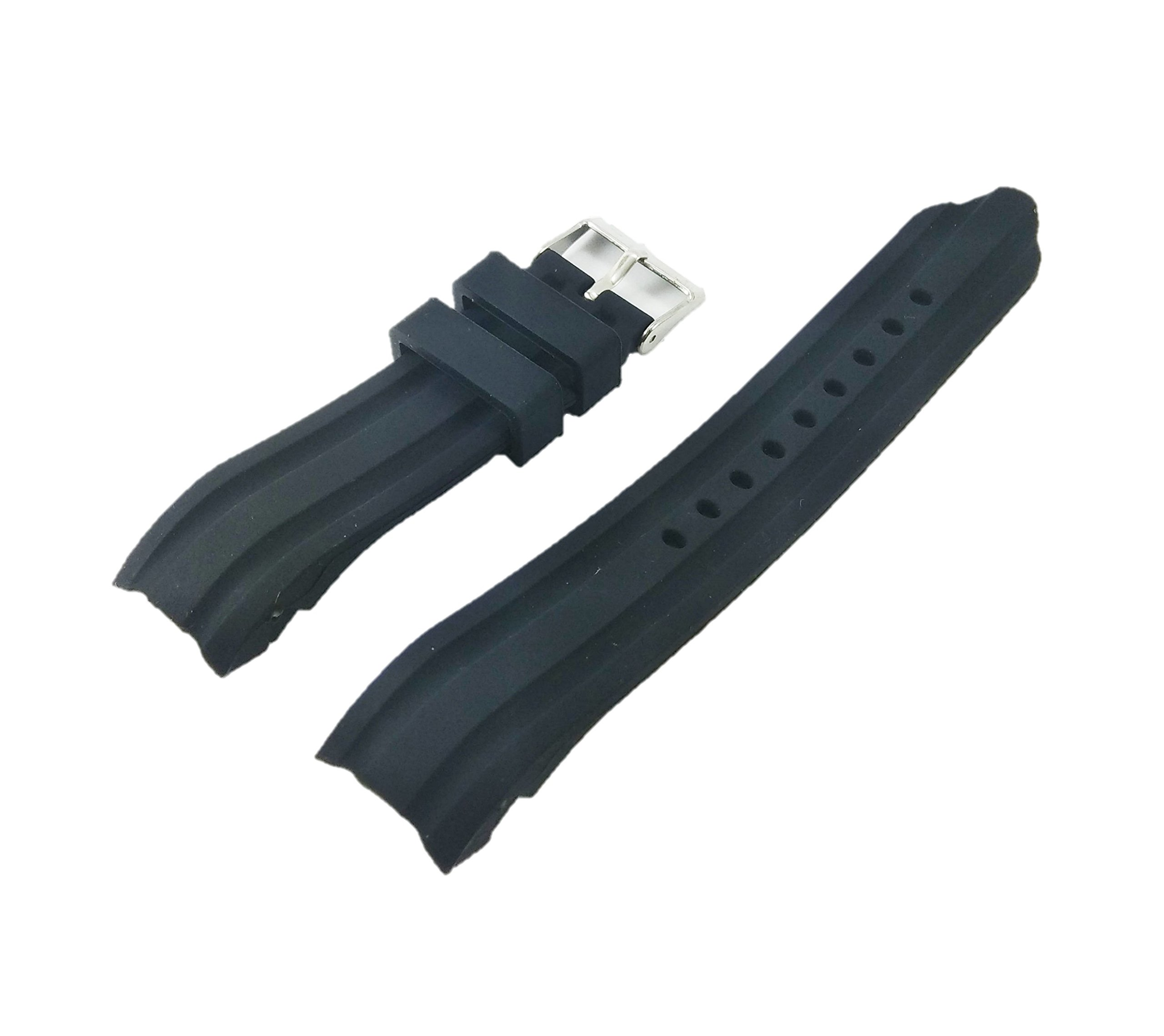 22mm Waterproof Black Silicone Rubber Curved End Dive Watch Band Strap