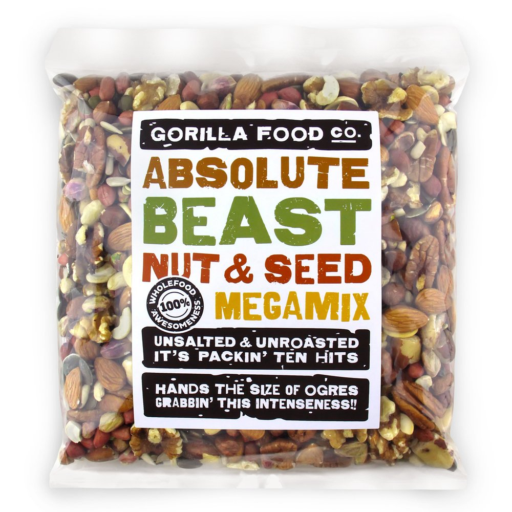 ''Absolute Beast'' Premium Unsalted Mixed Nuts and Seeds Raw Megamix (Fast Ship!) - 2 Packs (2 Pounds each) Resealable Bags