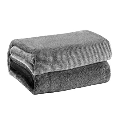 Bedsure Flannel Fleece Luxury Blanket Grey Twin(60 x80 ) Lightweight Cozy Plush Microfiber Solid Gradient Blanket