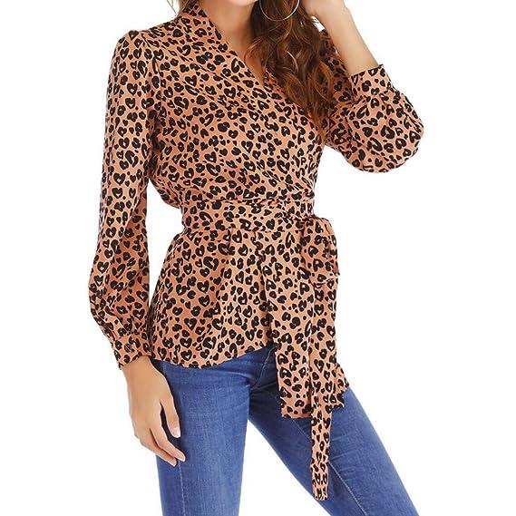 Longra ☂☂ ☂☂❤ ❤ Camiseta de Tirantes de cinturón de Manga Larga con Estampado de Leopardo de Manga Larga otoñal: Amazon.es: Ropa y accesorios