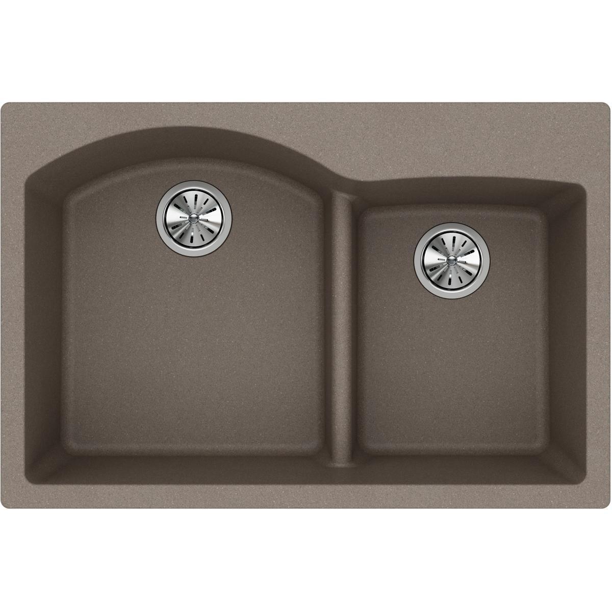 Elkay Quartz Classic ELGH3322RGR0 Greige Offset 60/40 Double Bowl Top Mount Sink