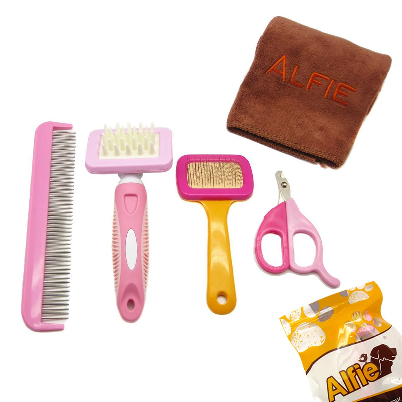 Alfie Pet by Petoga Couture - 4-piece Pet Home Grooming Kit with Microfiber Fast-Dry Washcloth for Rabbit, Chinachilla and Guinea Pig