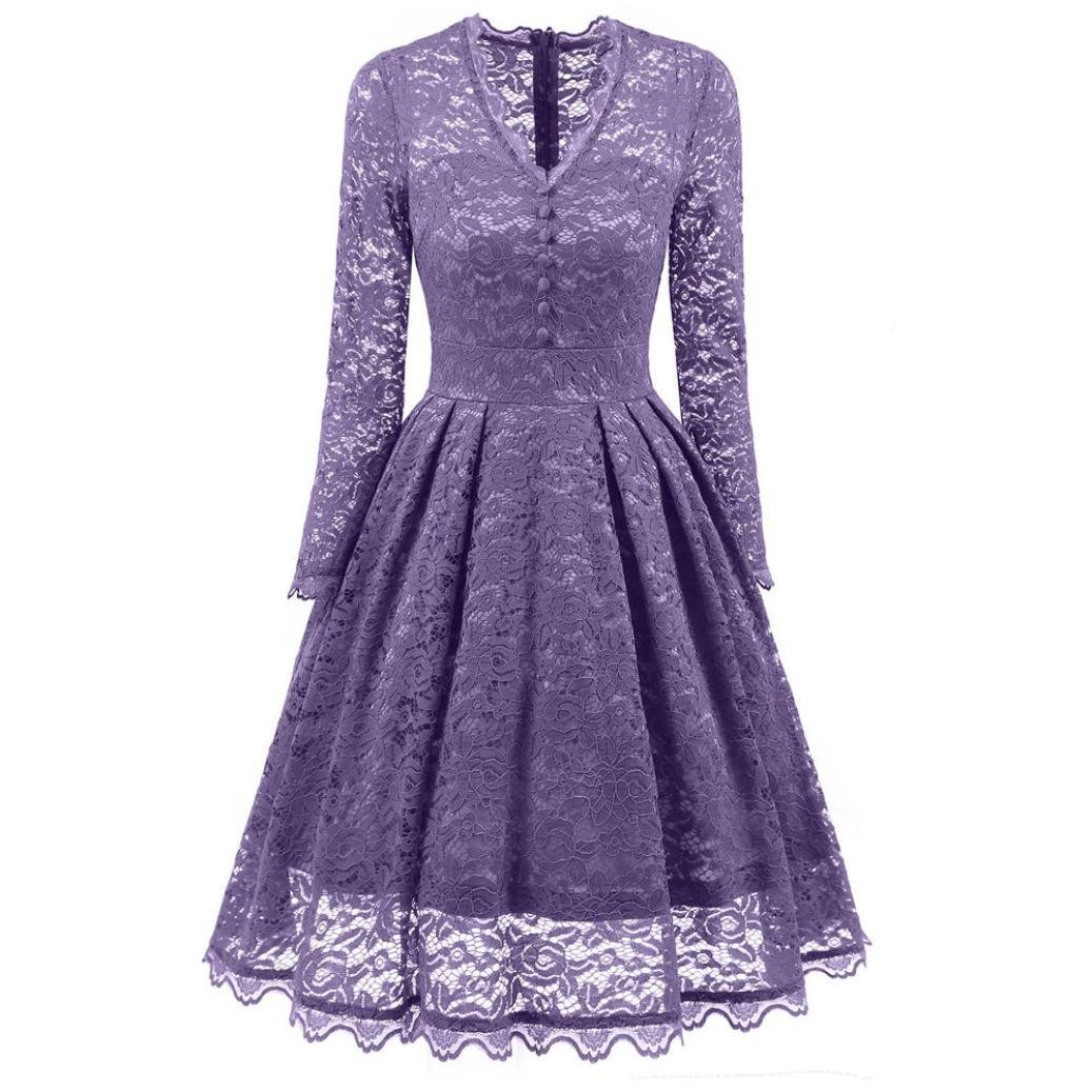 Sonnena - Vestido de encaje para mujer de manga larga y cuello en V ...