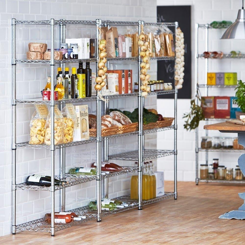 Shopfitting Warehouse Chrom Küche Regal mit 4 Ablagen, 2 Weinregalen ...