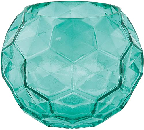 Teal Textured Glass Vase – Wedding and Home Decor