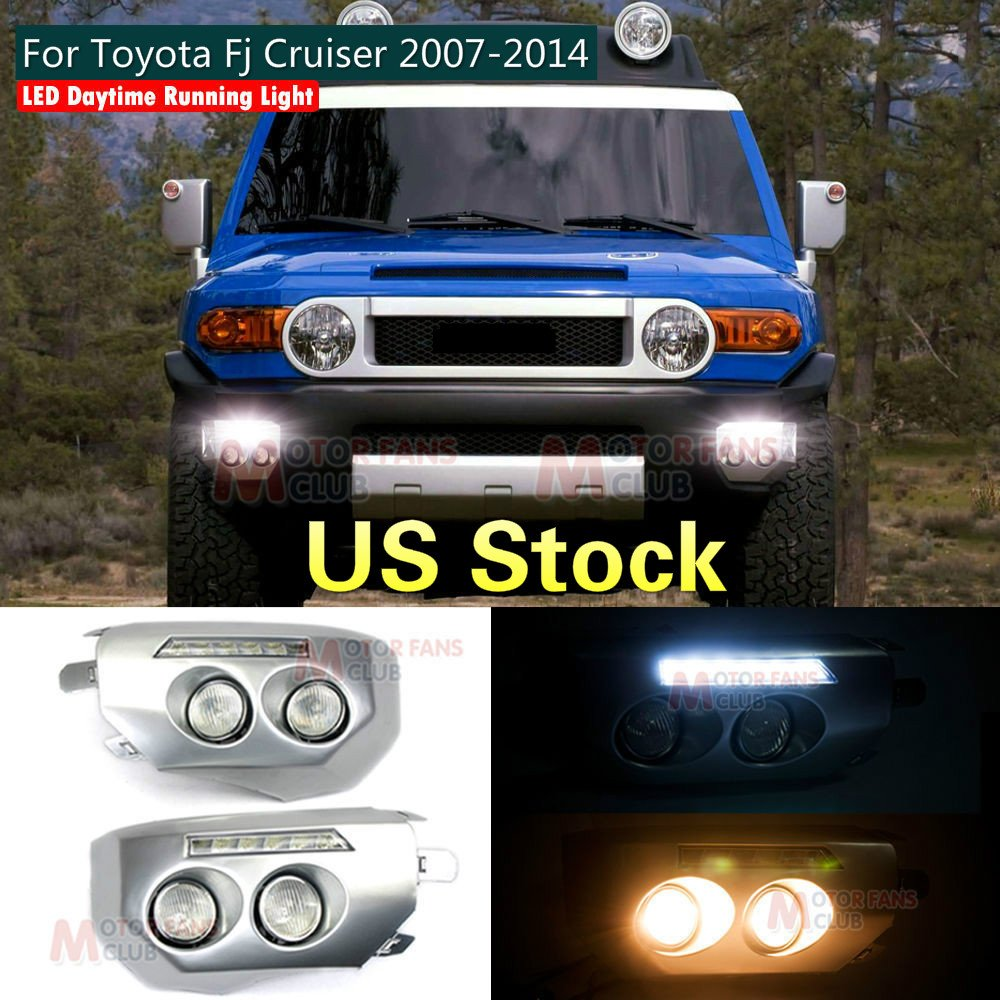 MOTORFANSCLUB LED DRLs Daytime Running Lamp White Bumper Driving Fog Light for Toyota Fj Cruiser 2007-2014