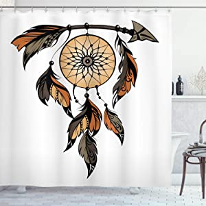 Ambesonne Ethnic Shower Curtain, Dreamcatcher Feathers Image, Cloth Fabric Bathroom Decor Set with Hooks, 75