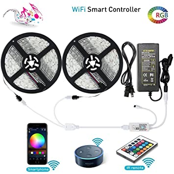 Iphone controlled lighting Android Amazoncom Led Strip Lights Lunsy Wifi Wireless Smart Phoneandroidios Controlled Light Strip Kit 5050 328ft10m 300 Leds Rope Lights Ribbon Lights Amazoncom Amazoncom Led Strip Lights Lunsy Wifi Wireless Smart Phone