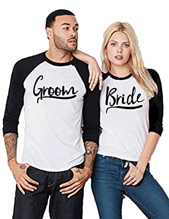 5dd7f8714 Amazon.com  SR Bride Groom Bridal Party Couple Love Matching Baseball Tee  Jersey Set  Clothing