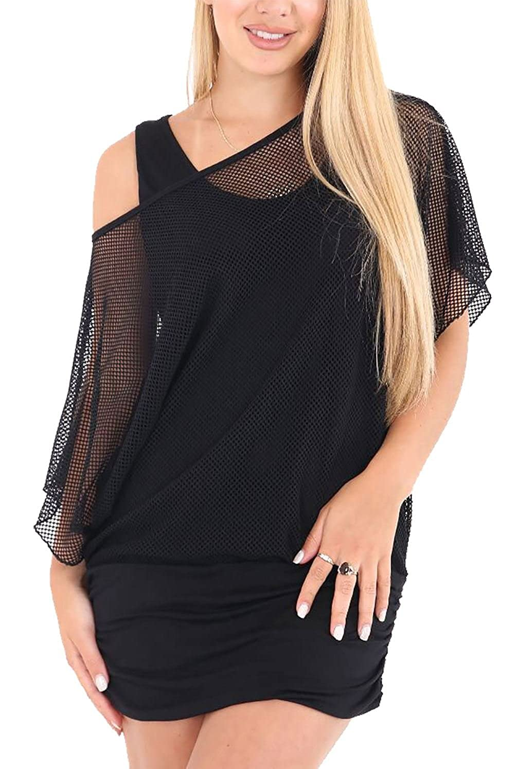 Womens Mesh Insert Full Lace Vest Ladies Fishnet Novelty Fancy Baggy Batwing Top RIDDLEDWITHSTYLE