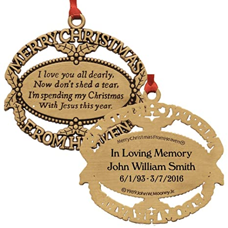 Christmas In Heaven Ornament.Merry Christmas From Heaven Personalized Gold Ornament With Poem Card In Gift Box