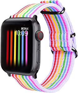 Bandmax Wristband Compatible with Apple Watch 38mm/40MM,Nylon Soft Breathable Replacement Watch Band Sport Strap Accessories Compatible with iwatch Series 6/5/4/3/2/1(White Bottom with Black Buckle)