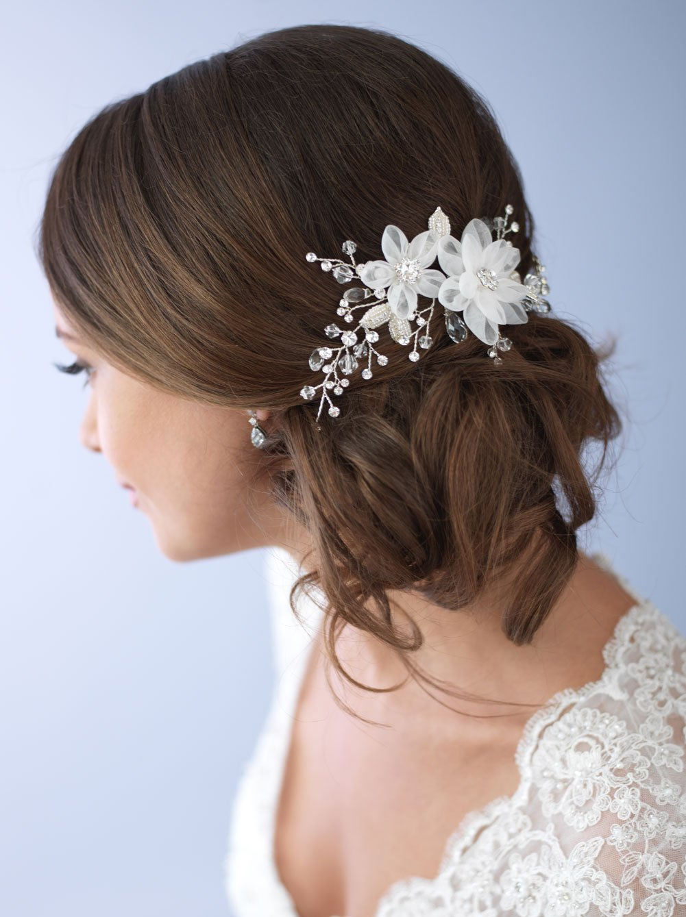 USABride Rhinestone and Tulle Flower Wedding Side Hair Comb, Bridal Comb 2264