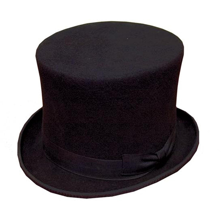 58cm - BLACK 100%WOOL FELT TOP HAT