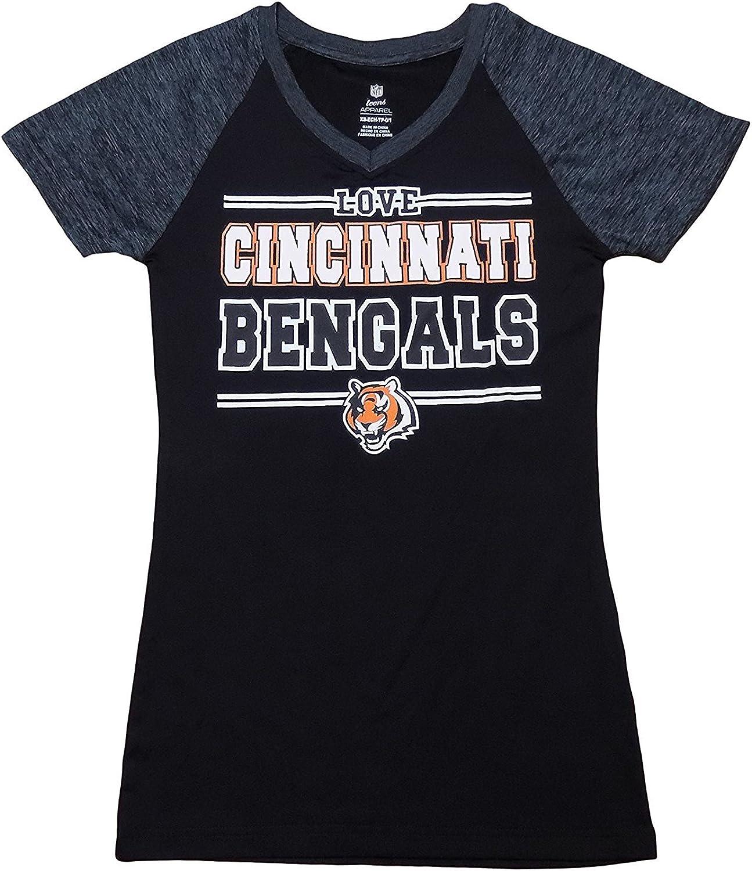 Cincinnati Bengals Black Teens Girls Wordmark Primary Logo V Neck Love T Shirt