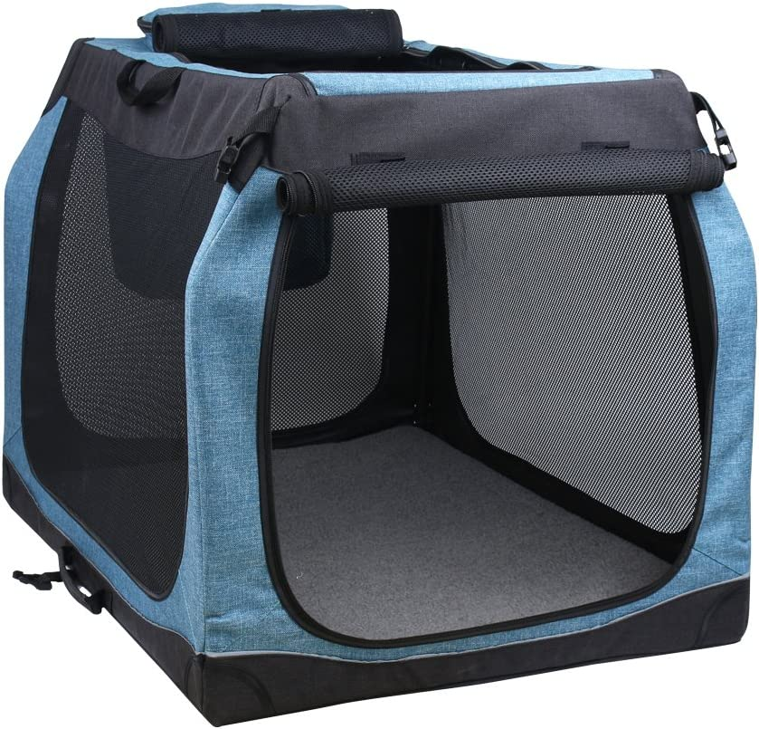 Soft Dog Kennel Foldable Travel Crate with Metal Frame Large L 34 L 25 W 25 H , Blue Black