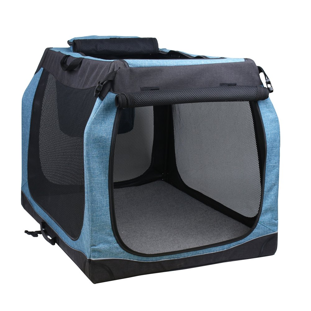 HiCaptain Soft Pet Kennel Portable Dog Crate with Small, Medium, Large Size suit for Dogs, Cats, Puppies ( S: 27.5''(L)20.5''(W)20.5''(H), Black/Blue )