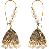 Zephyrr Fashion Lightweight Oxidized Gold Jhumki Earrings with Beads. For Girls and Women