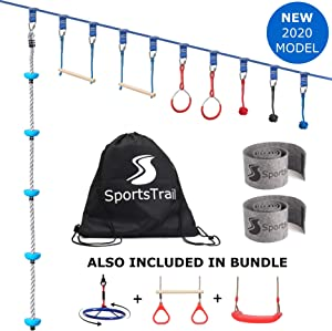 SportsTrail Ninja Warrior Obstacle Course for Kids 42' Slackline Kit + Climbing ope, Jungle Gym Monkey Bars Kit for Kids and Adults Including Trapeze Swing, Spinning Wheel and Swing