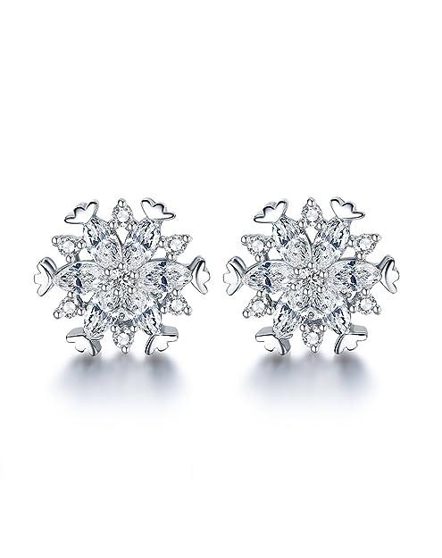 Fei Liu Fine Jewellery Women's 925 Sterling Silver Cubic Zirconia Kaleidoscopic Snowflake Earrings d7TCDqN